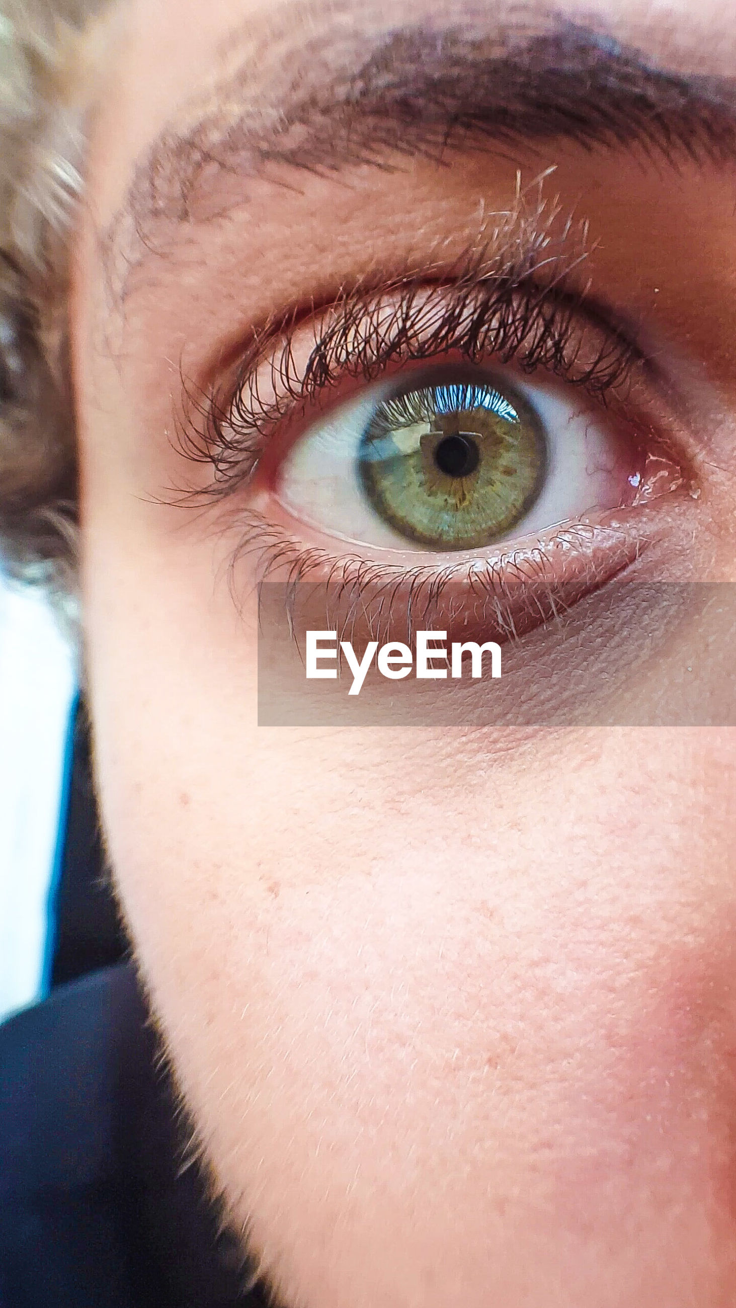 looking at camera, close-up, human eye, portrait, full frame, extreme close-up, eyesight, eyelash, focus on foreground, green color, human skin, extreme close up
