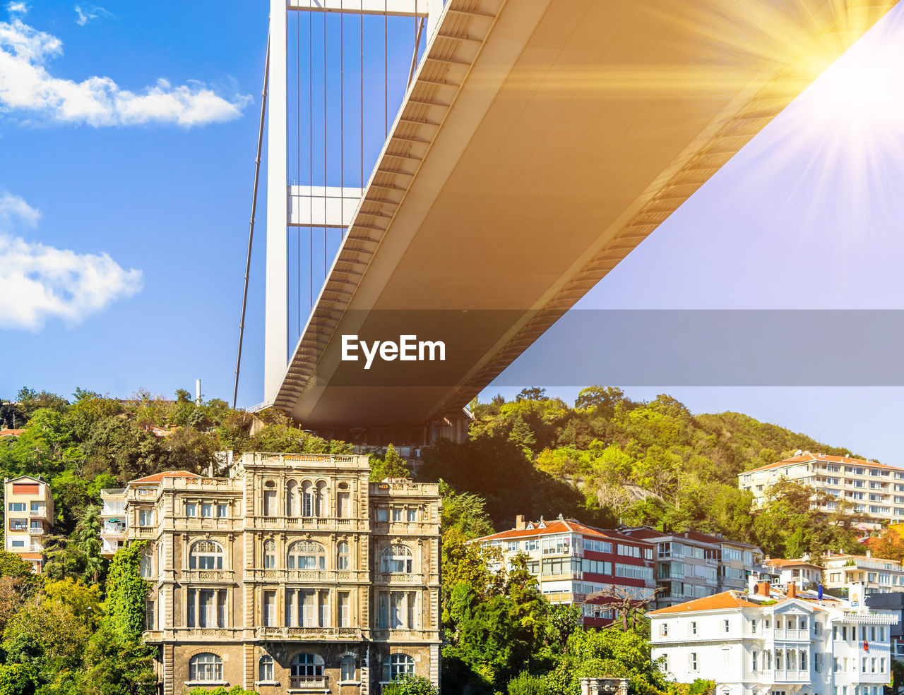 LOW ANGLE VIEW OF BRIDGE BY BUILDINGS AGAINST SKY