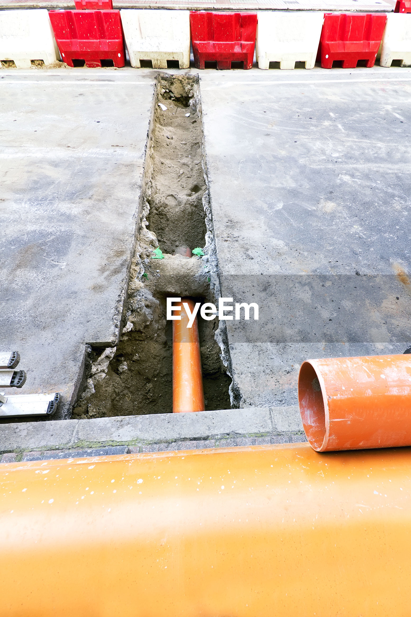 High angle view of orange pipe