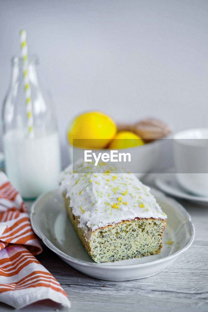 Close up of lemon and poppy seed cake