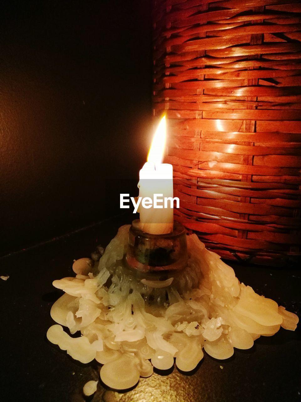candle, flame, burning, illuminated, heat - temperature, glowing, indoors, tea light, close-up, no people, night