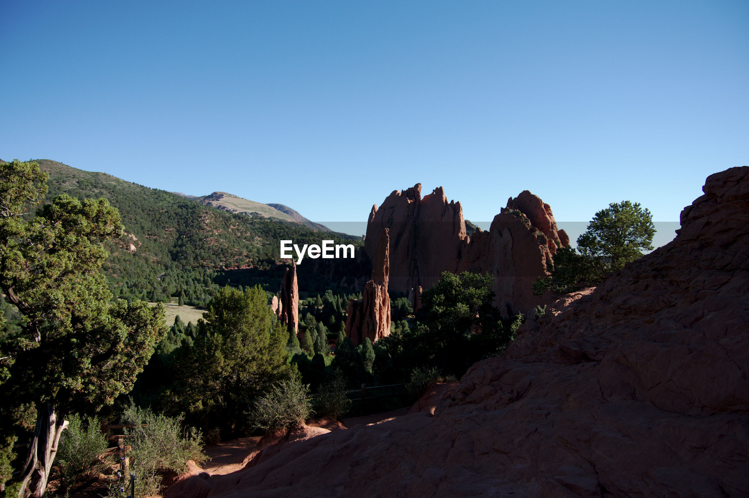 PANORAMIC VIEW OF ROCKS AGAINST CLEAR SKY