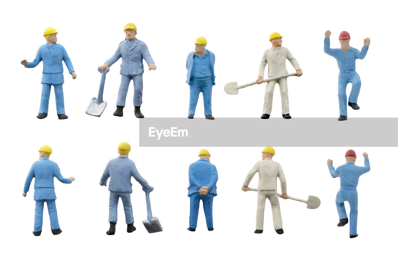 white background, full length, men, cut out, indoors, studio shot, standing, group of people, occupation, people, safety, protection, protective workwear, males, rear view, holding, doctor, representation, expertise, surgical glove