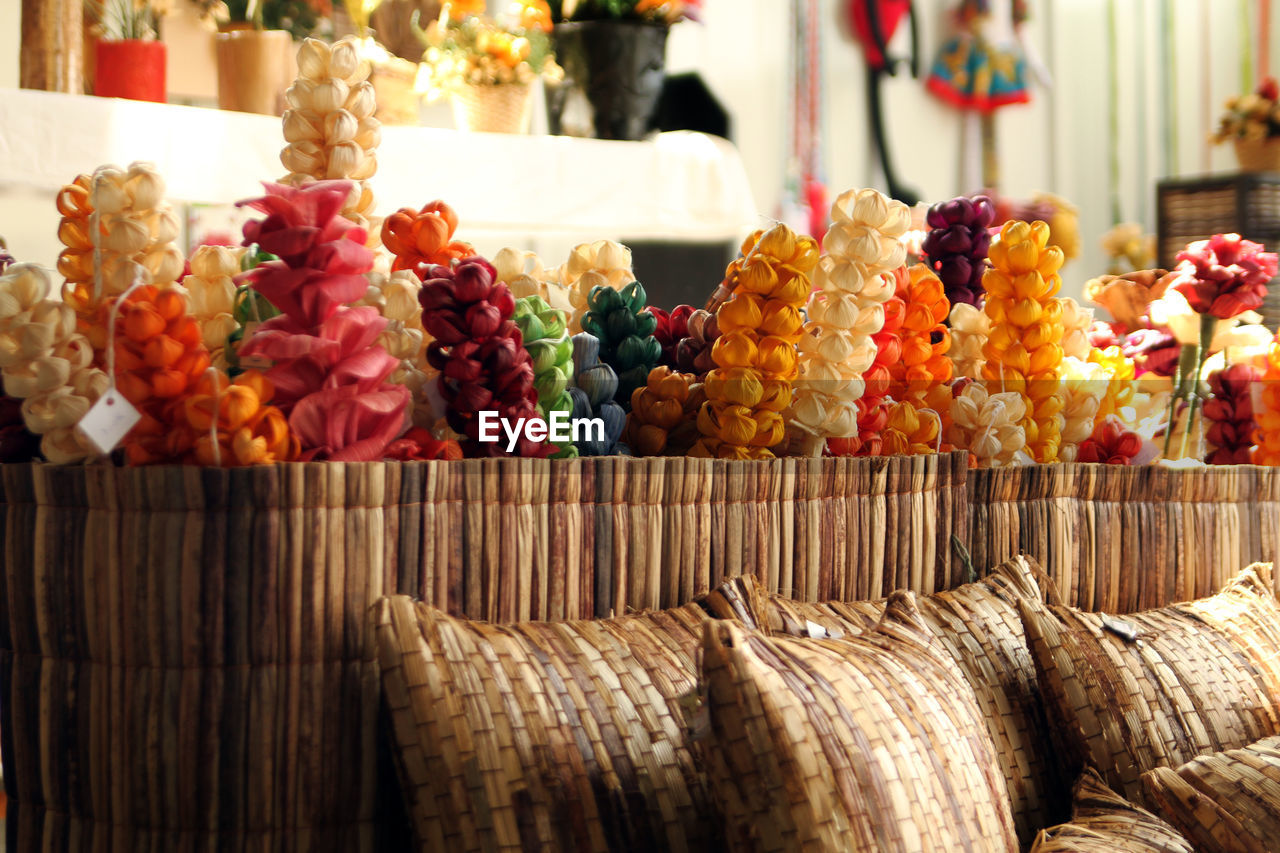Artificial Colorful Flowers In Bamboo Basket