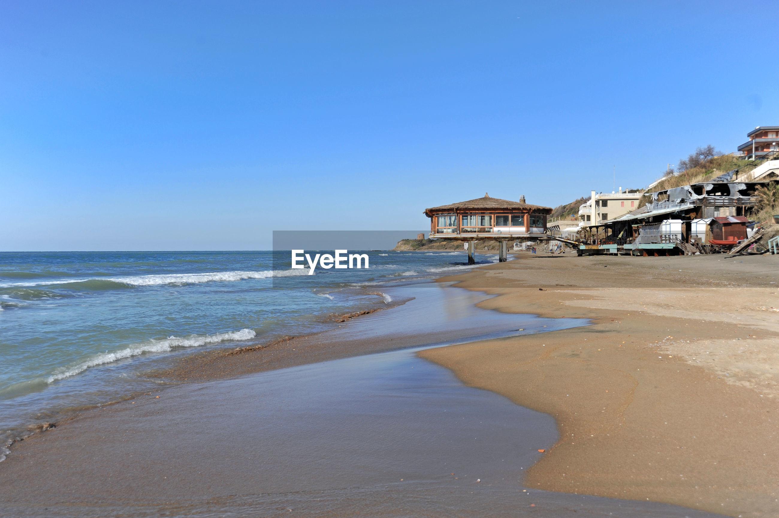 BEACH BY SEA AGAINST CLEAR BLUE SKY