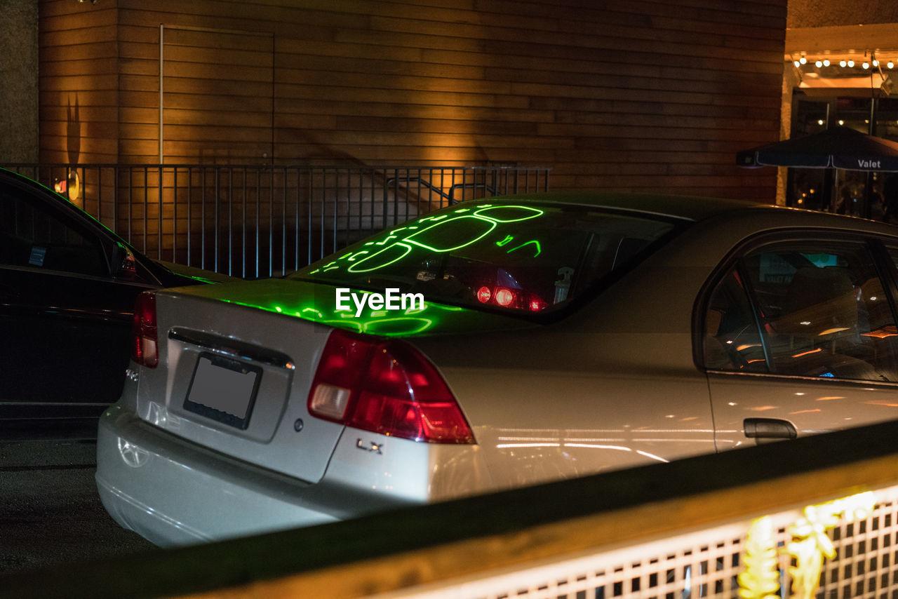 transportation, car, mode of transport, illuminated, land vehicle, no people, red, indoors, night, close-up