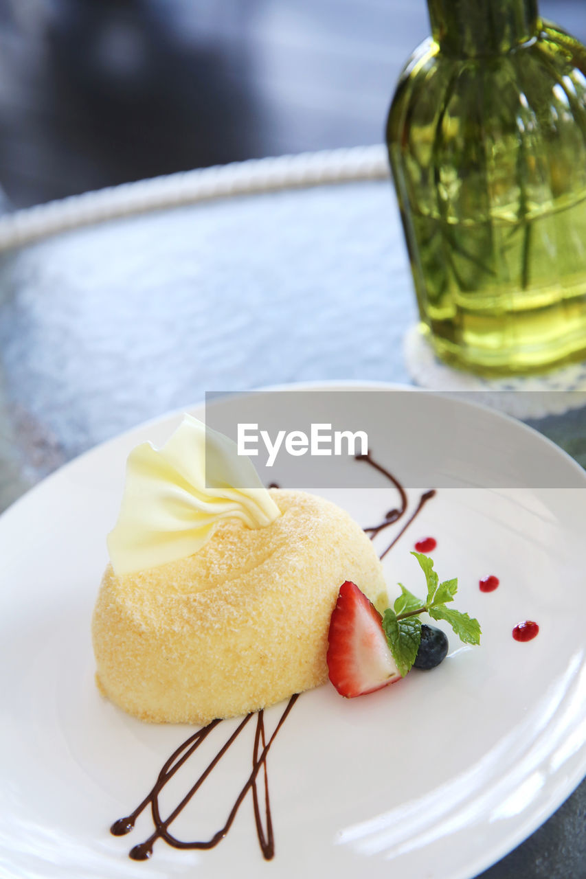 food and drink, food, plate, sweet, freshness, sweet food, dessert, indulgence, ready-to-eat, focus on foreground, still life, table, close-up, indoors, serving size, fruit, no people, cake, temptation, healthy eating, food styling, herb, garnish