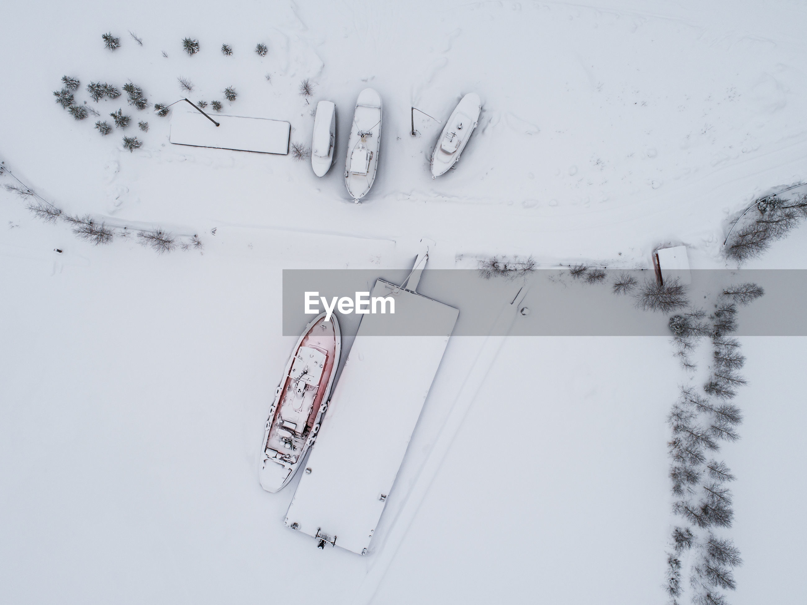 Directly above shot of boats during winter
