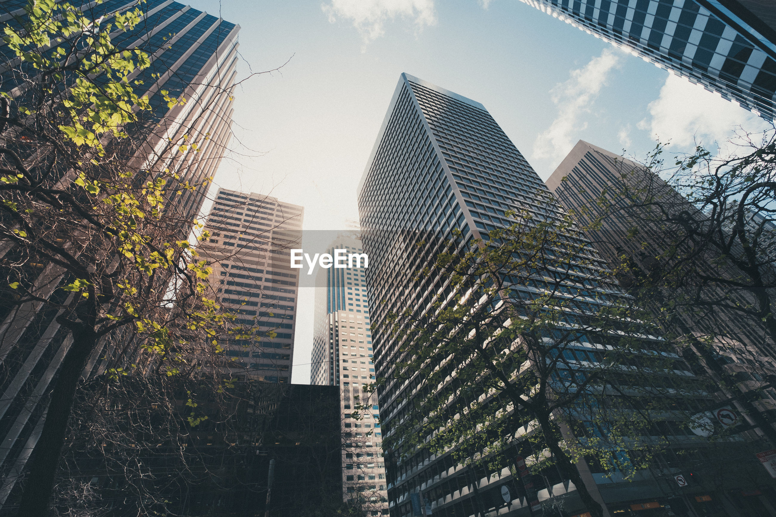 LOW ANGLE VIEW OF MODERN SKYSCRAPER AGAINST SKY
