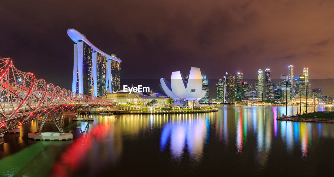 architecture, built structure, water, illuminated, reflection, night, building exterior, city, office building exterior, waterfront, sky, building, no people, skyscraper, nature, modern, river, travel destinations, cityscape, outdoors, financial district, bay, purple