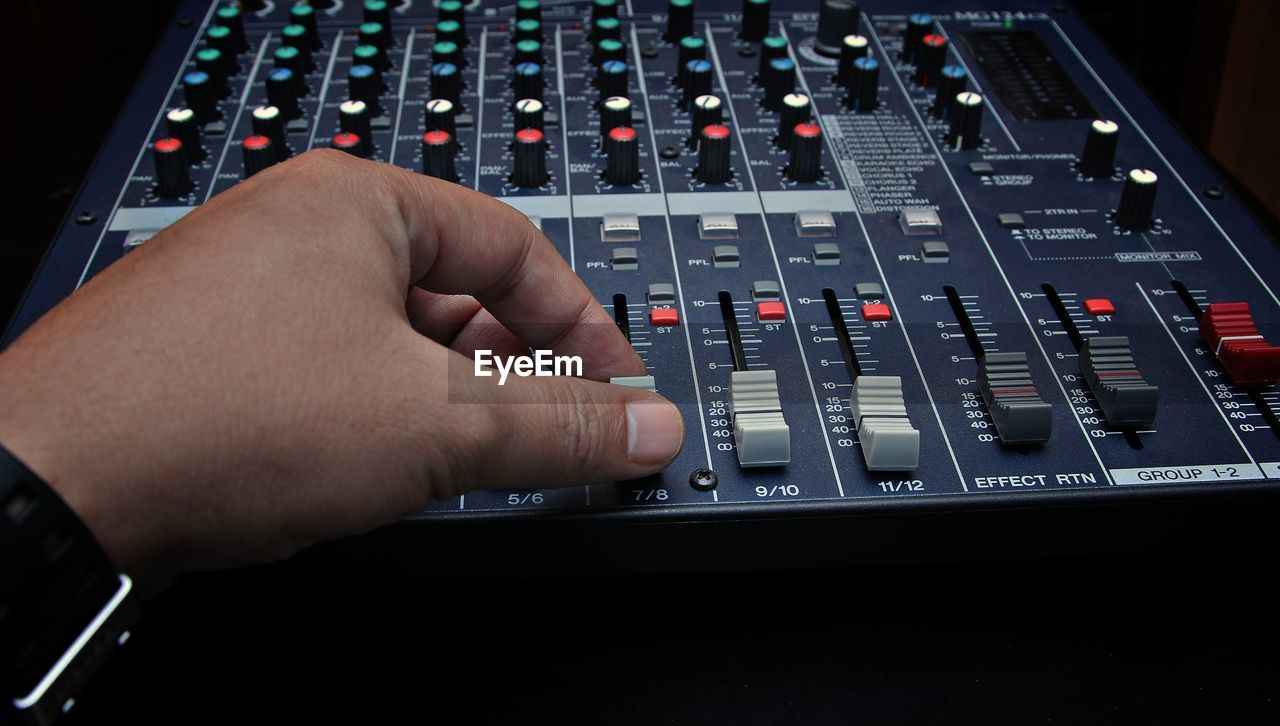 Close-Up Of Mixing Console