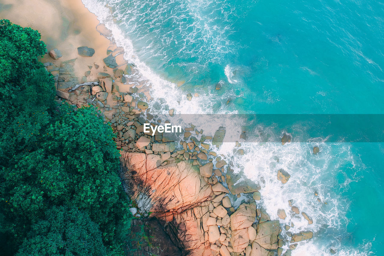 water, sea, sport, nature, motion, aquatic sport, high angle view, no people, wave, beauty in nature, day, outdoors, scenics - nature, land, pool, turquoise colored, swimming pool, breaking, power in nature
