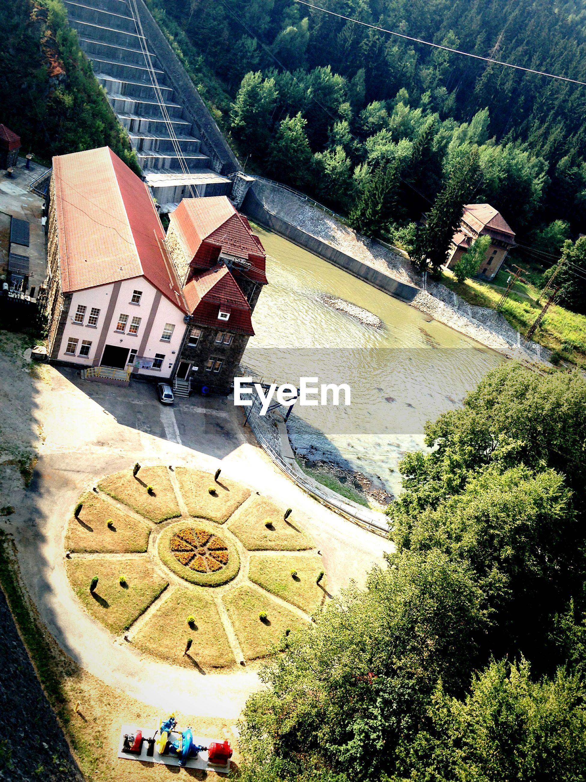 High angle view of house and lake