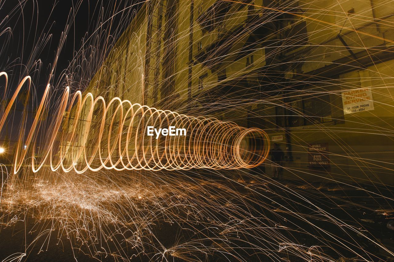 long exposure, night, motion, pattern, outdoors, wire wool, no people, illuminated, firework - man made object