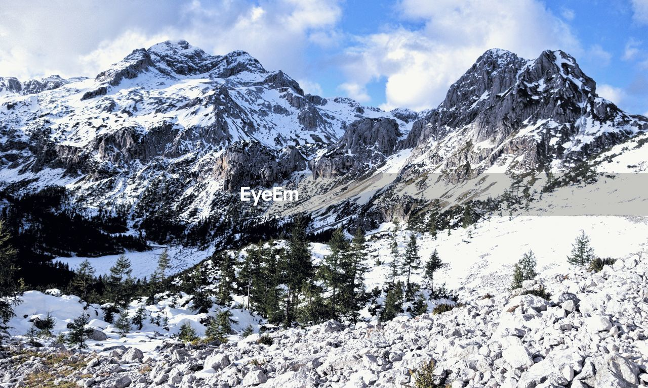 snow, cold temperature, winter, beauty in nature, mountain, scenics - nature, sky, cloud - sky, snowcapped mountain, environment, nature, tranquility, landscape, day, mountain range, no people, tranquil scene, white color, non-urban scene, outdoors, mountain peak, formation