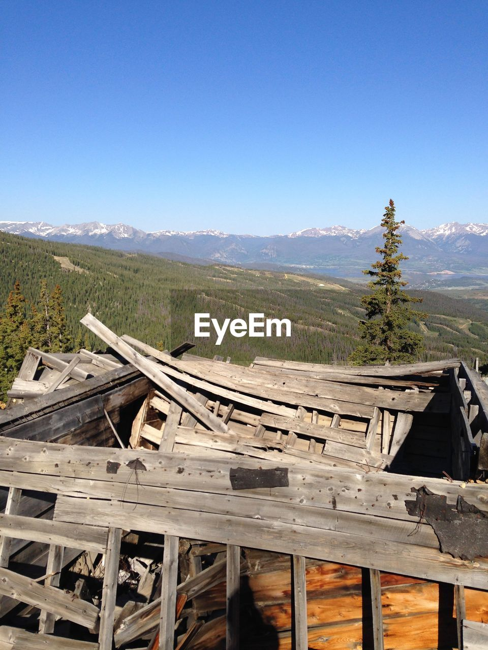 wood - material, chair, no people, mountain, landscape, day, outdoors, nature, clear sky, scenics, tree, beauty in nature, sky