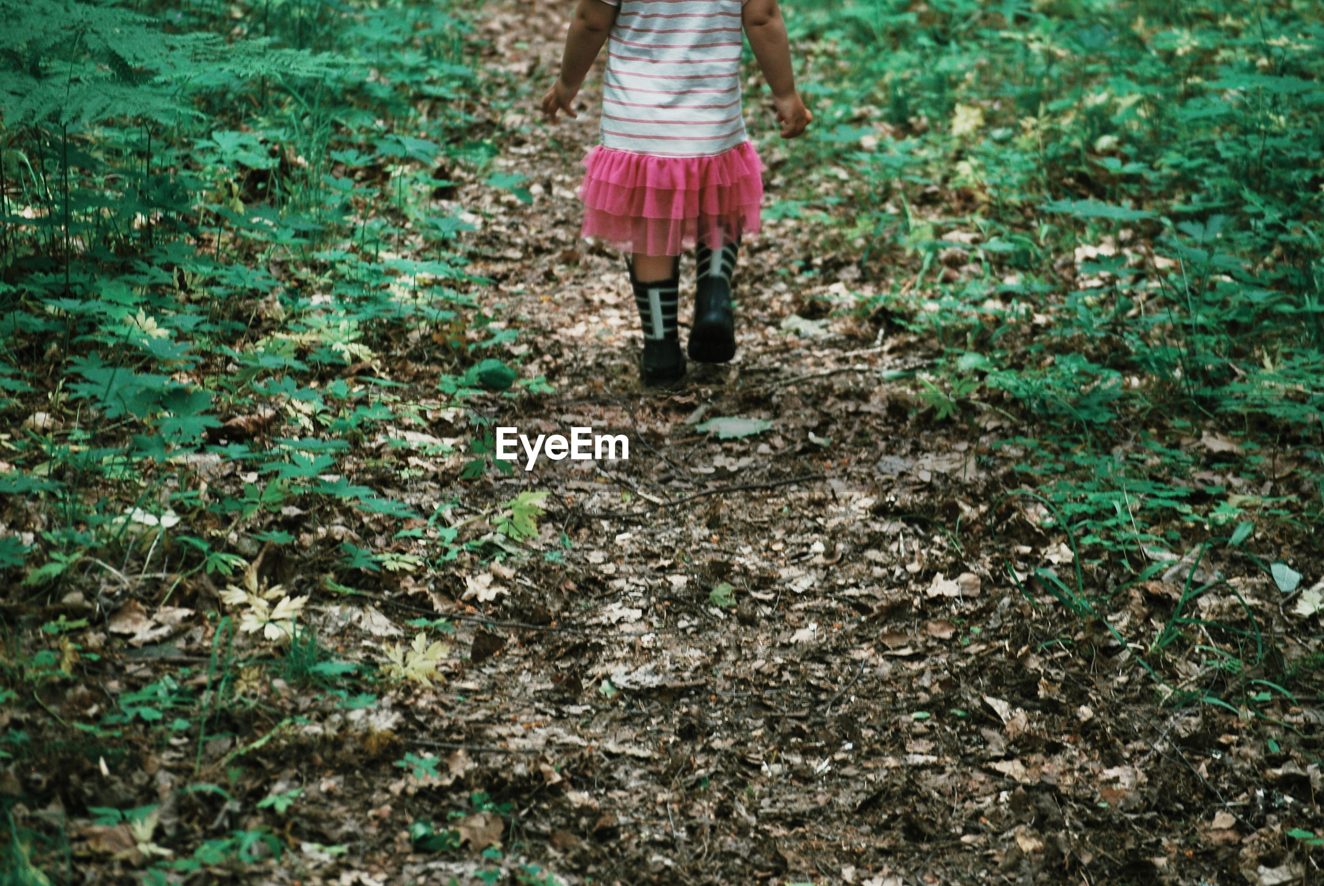 Low section of girl walking on land