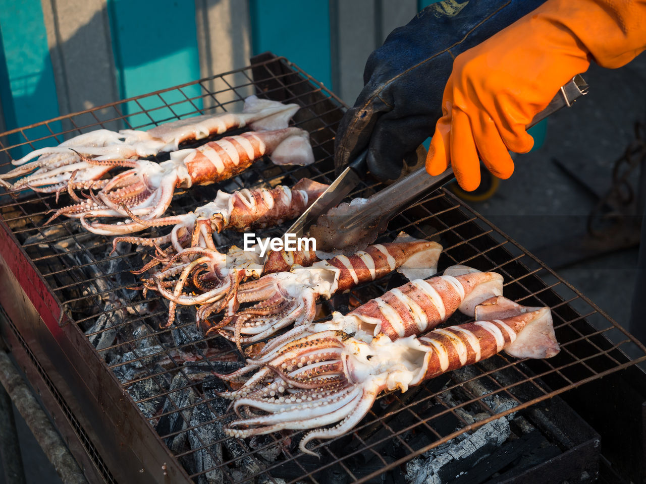High Angle View Of Squid On Barbecue Grill