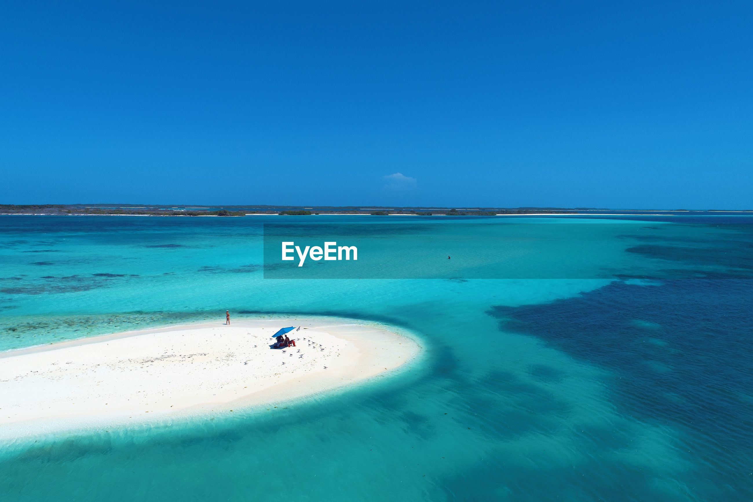 Drone view of beach with clear water in los roques, caribbean sea, venezuela