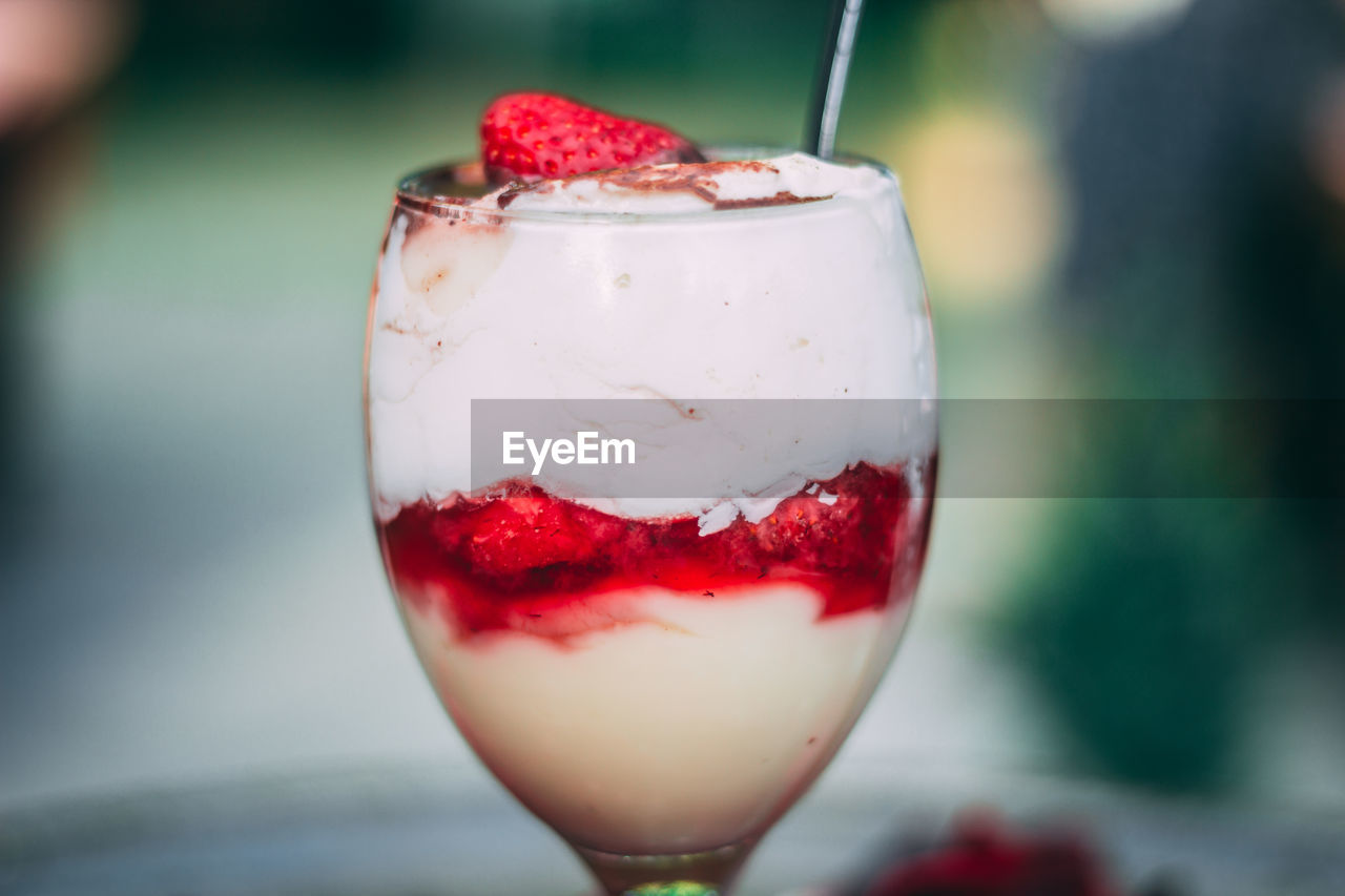 food and drink, food, fruit, focus on foreground, freshness, close-up, indulgence, sweet food, healthy eating, berry fruit, red, sweet, temptation, dessert, strawberry, ready-to-eat, raspberry, no people, dairy product, still life, glass