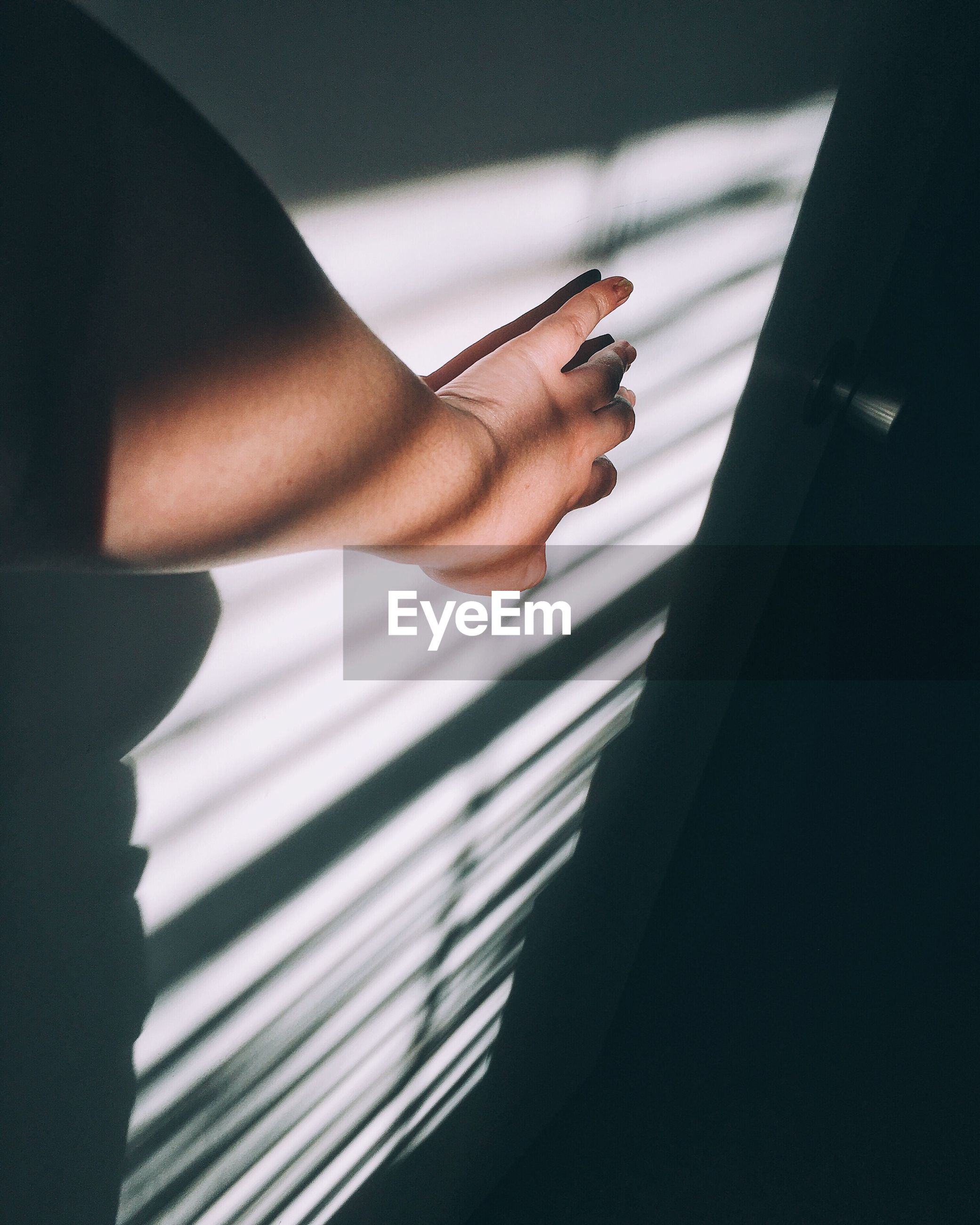 Sunlight falling on hand of person