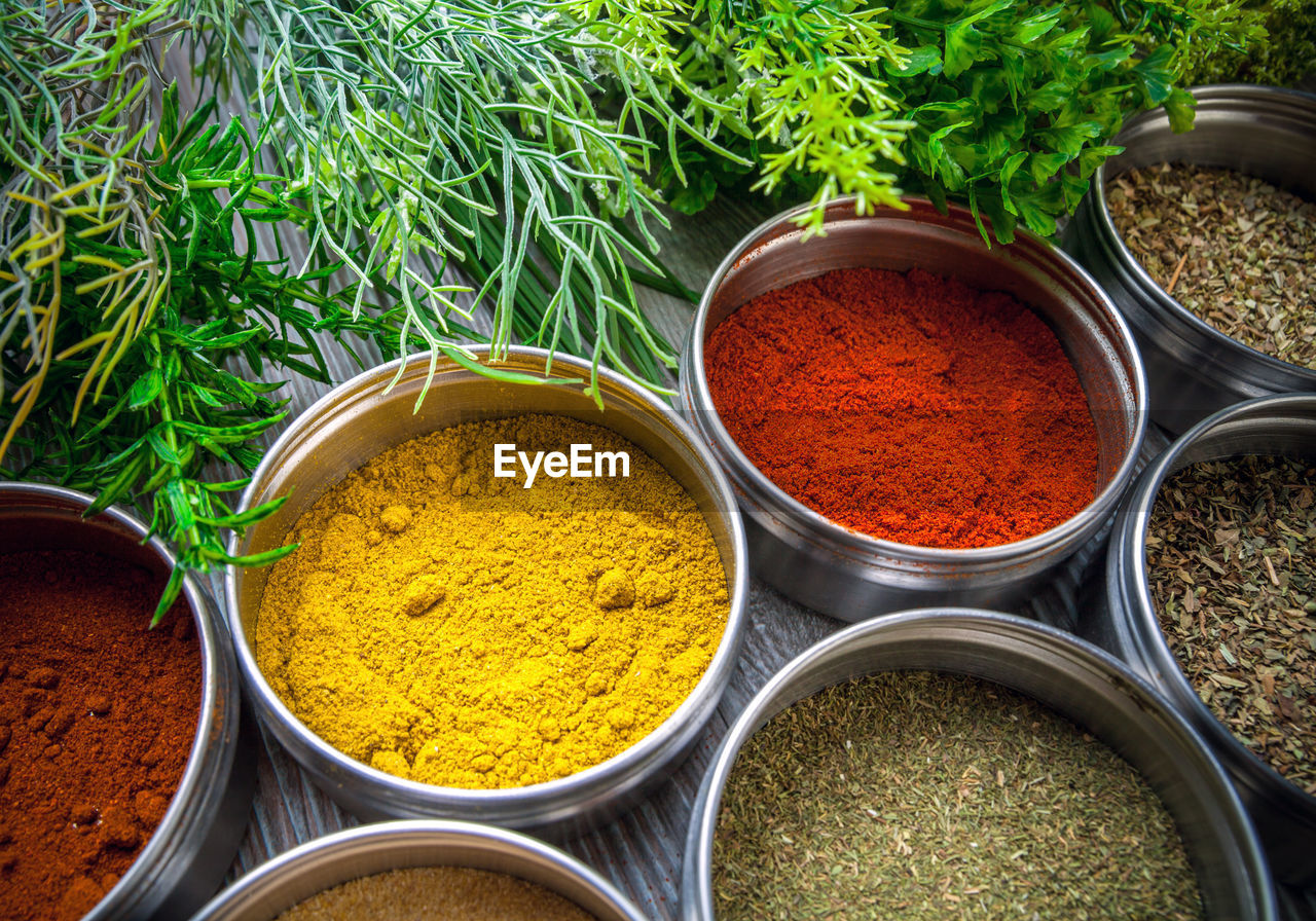 Close-up of various herbs and spices on table