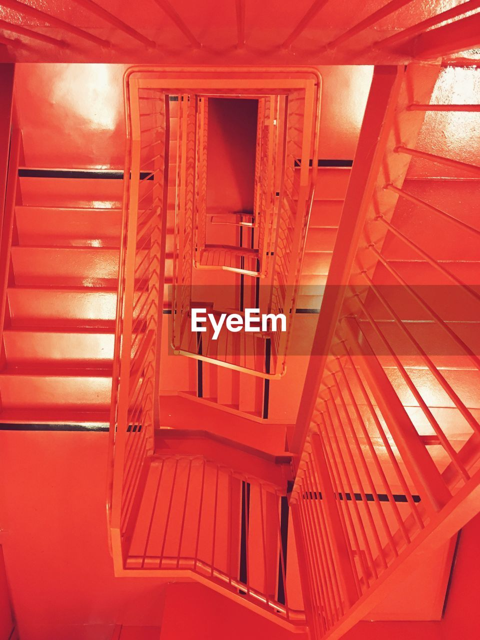 Directly above shot of red staircase