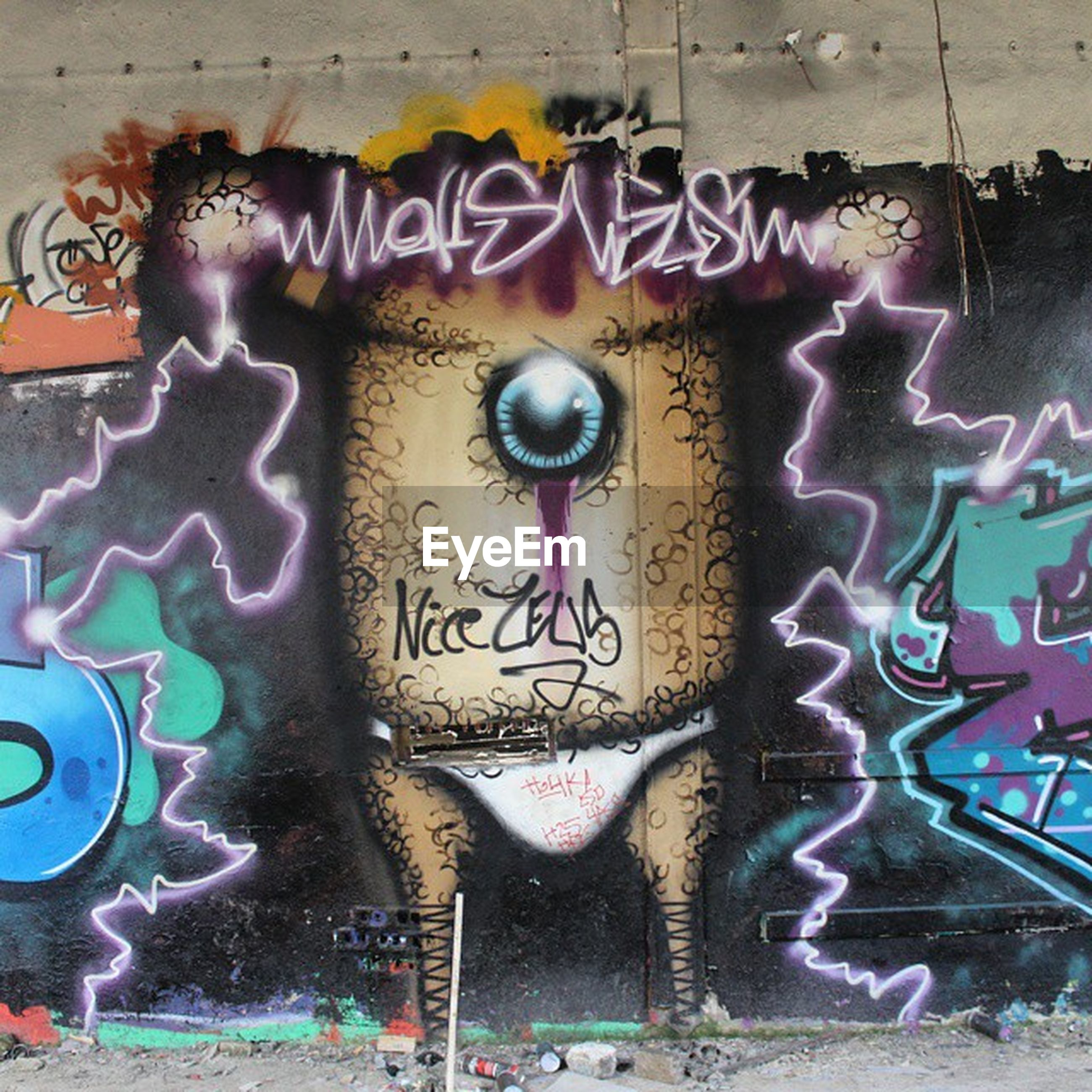 graffiti, art, creativity, art and craft, wall - building feature, built structure, architecture, street art, text, multi colored, human representation, mural, wall, animal representation, building exterior, vandalism, western script, communication, day, outdoors