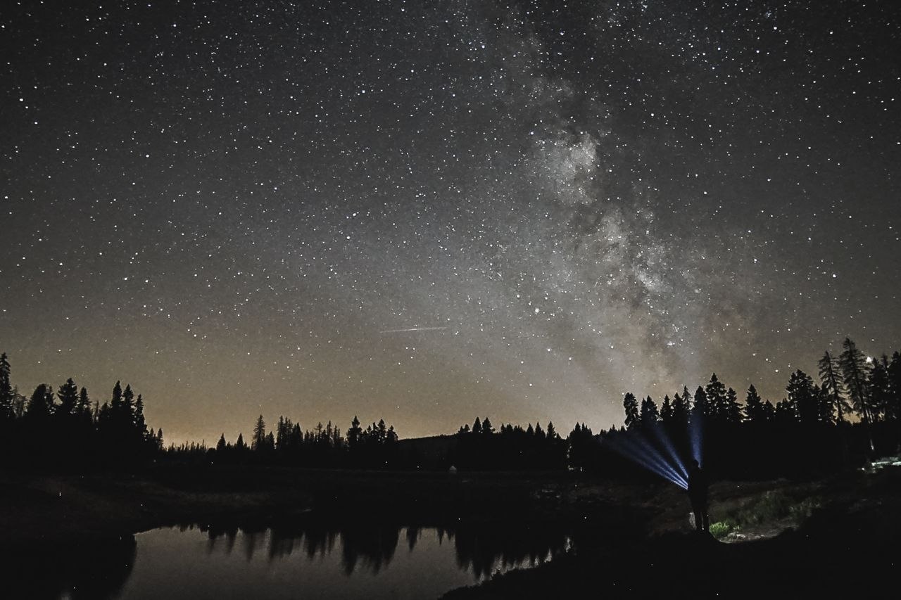 night, star - space, scenics - nature, beauty in nature, sky, water, astronomy, space, tranquility, star, tree, lake, galaxy, tranquil scene, star field, nature, plant, no people, constellation, outdoors, milky way, space and astronomy