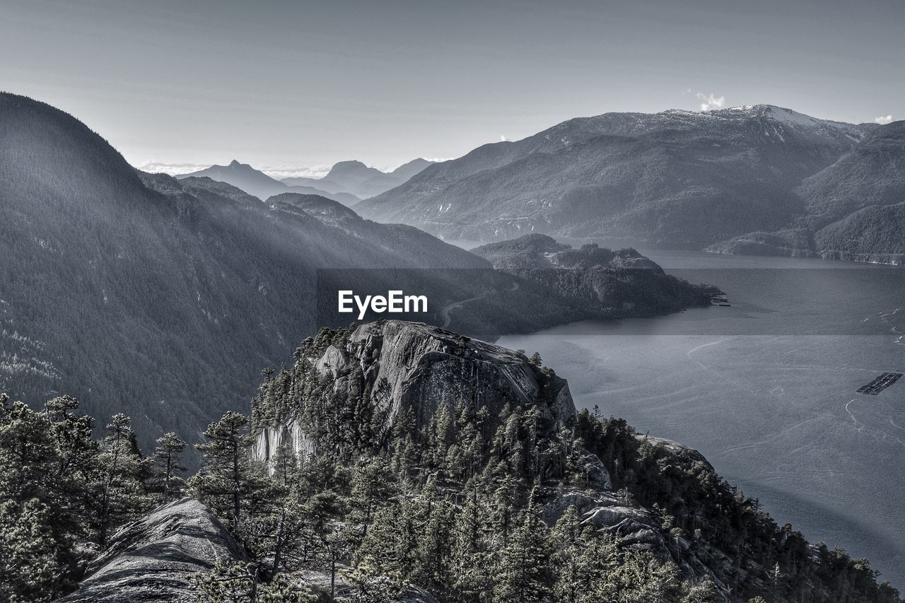 High Angle View Of Lake And Mountains Against Sky
