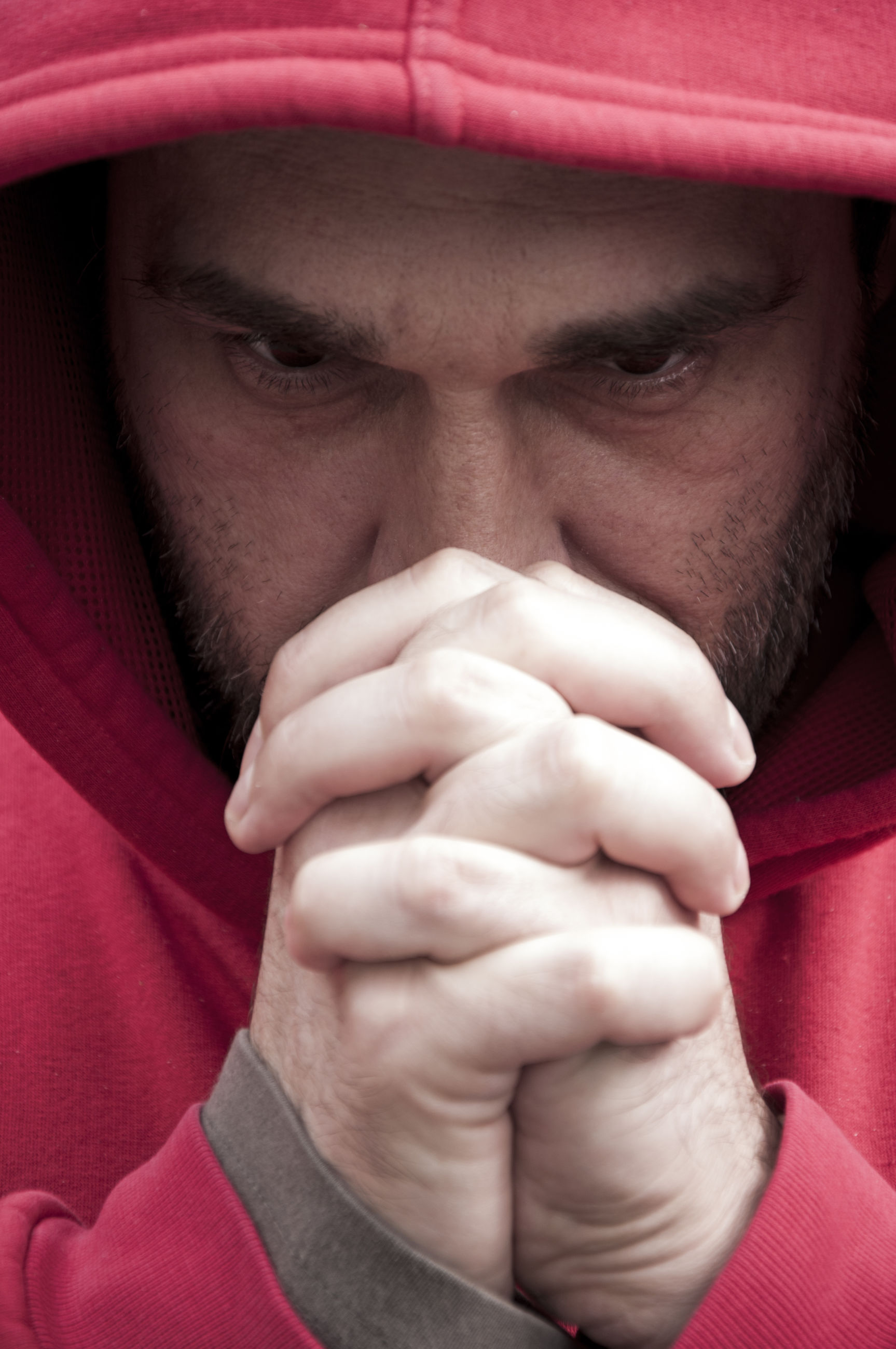 Close-up of man praying