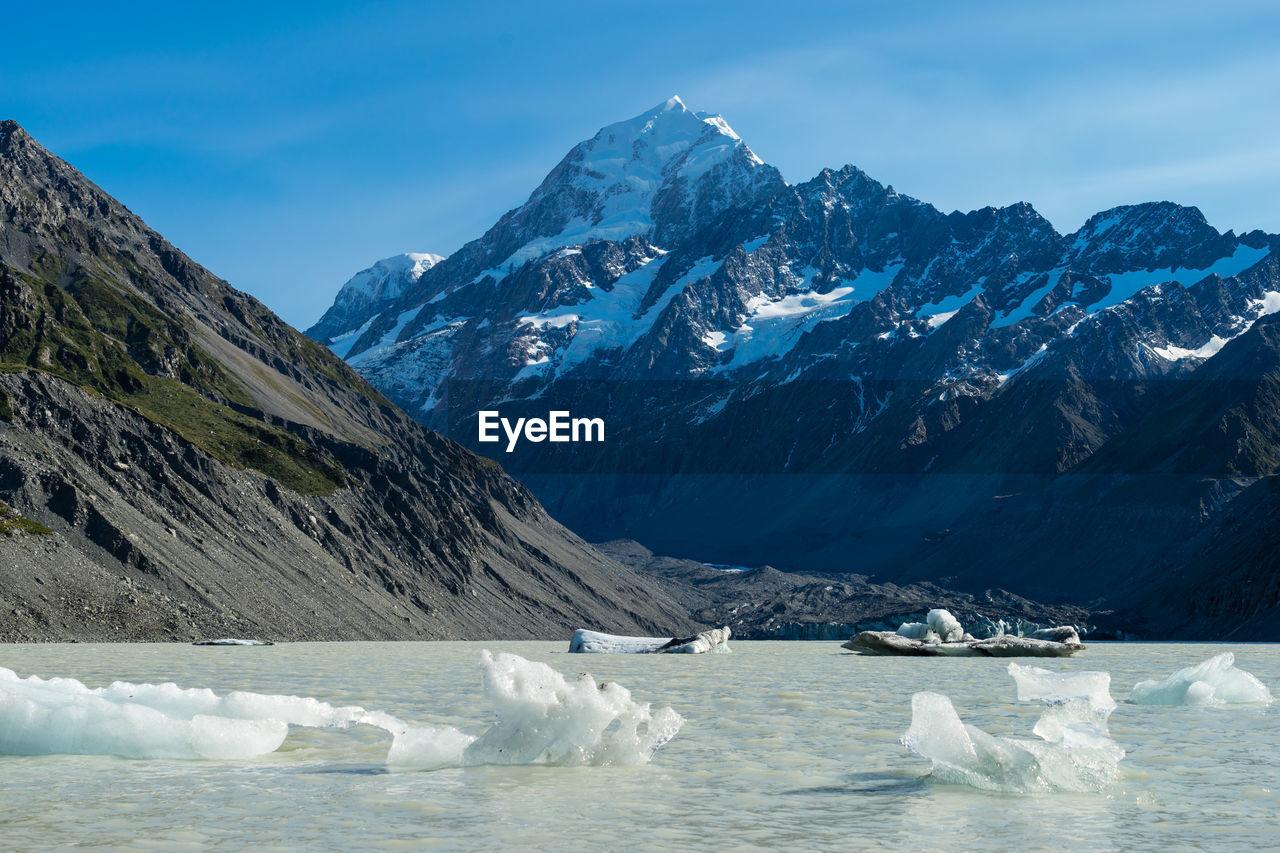 Icebergs Floating On Lake Against Mountains