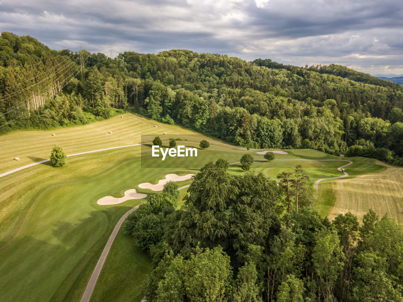 High Angle View Of Sand Trap In Golf Course