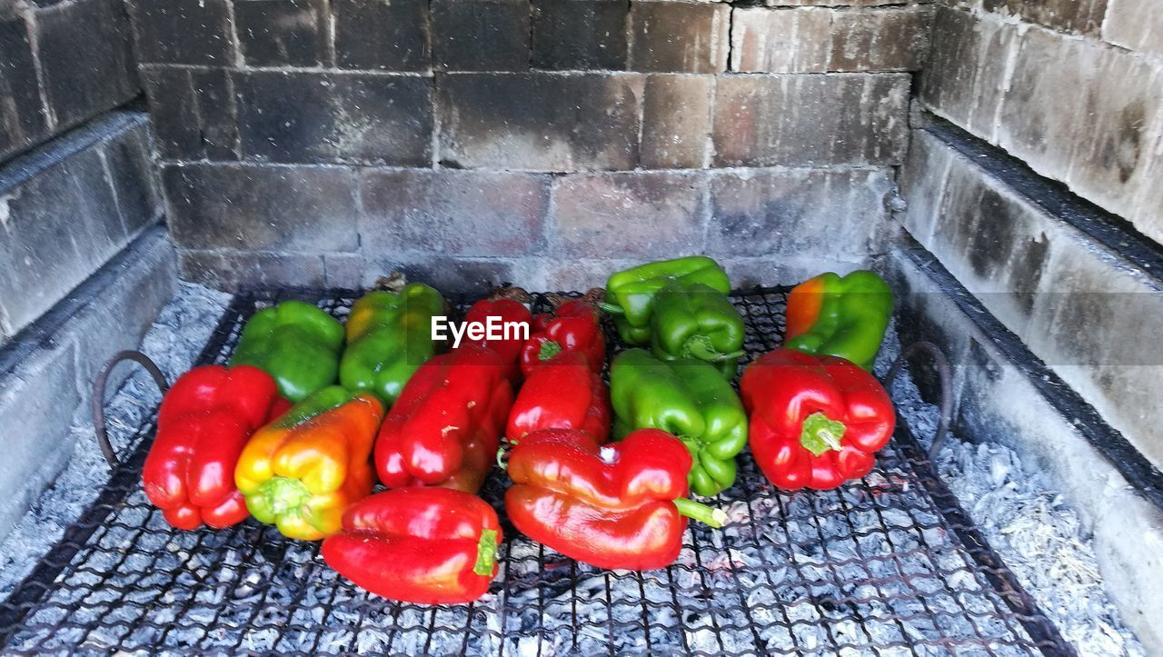 high angle view, no people, food and drink, vegetable, food, freshness, outdoors, red bell pepper, red, day, healthy eating, close-up