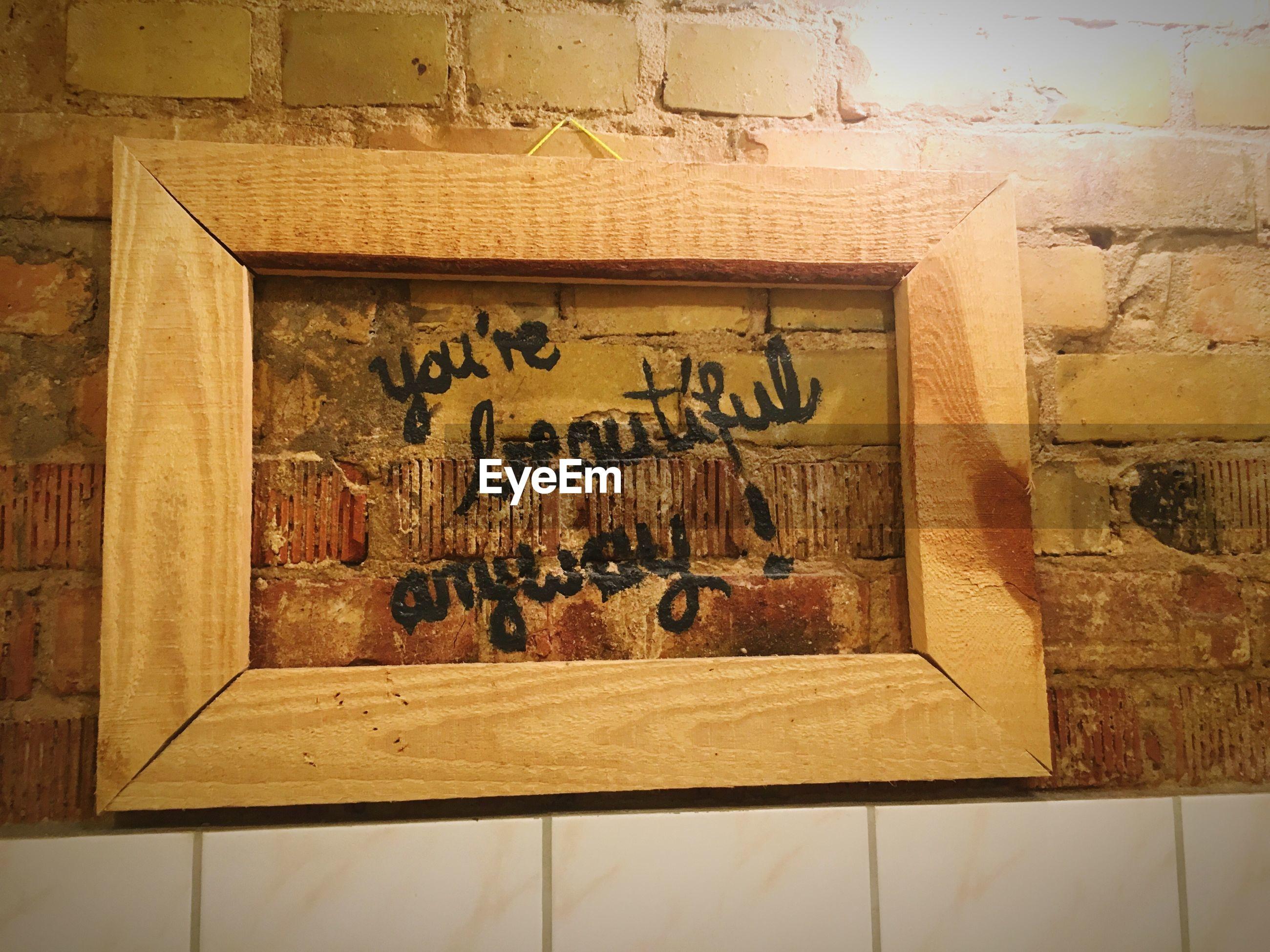 TEXT WRITTEN ON WALL