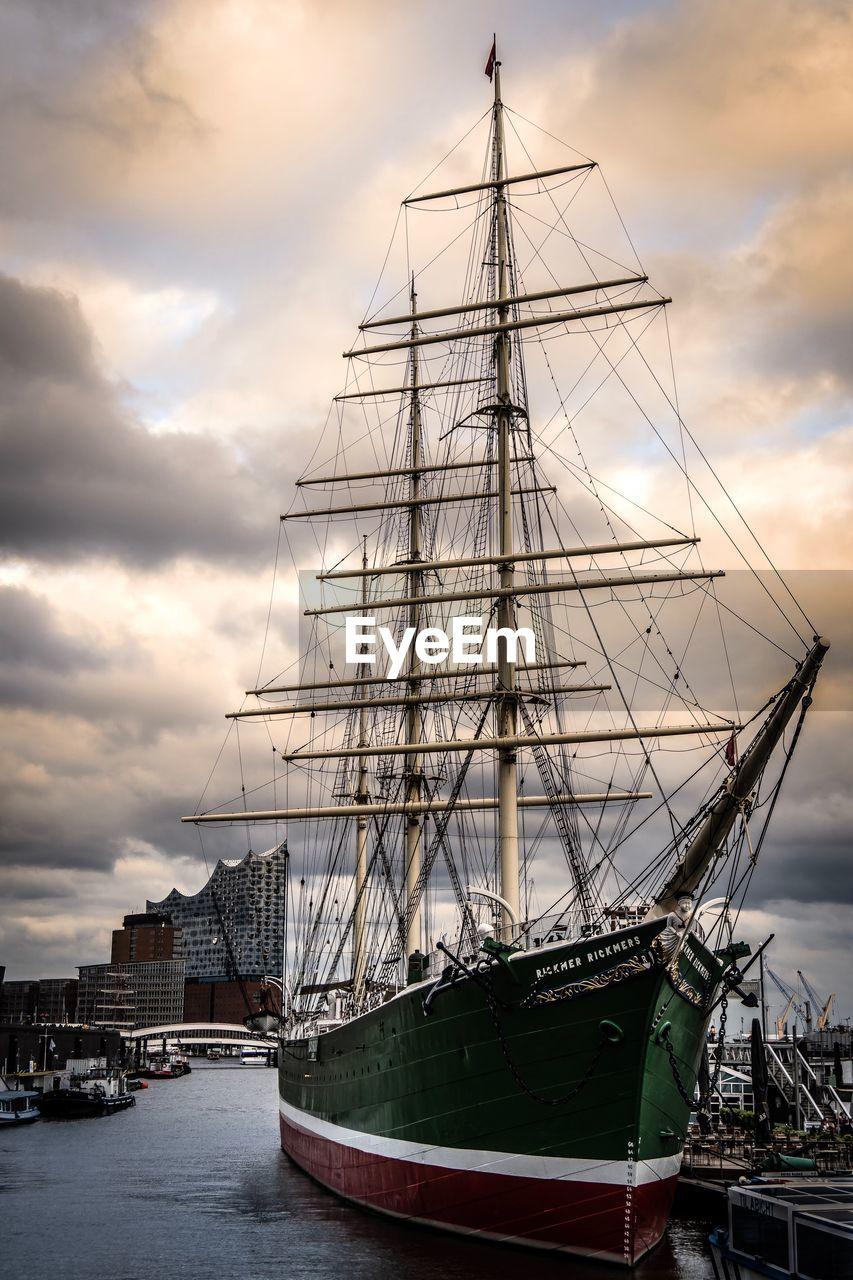nautical vessel, transportation, water, mode of transportation, cloud - sky, sailboat, ship, mast, sea, sky, pole, moored, harbor, sailing ship, sailing, nature, travel, no people, outdoors, passenger craft