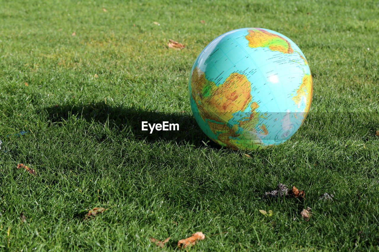 grass, green color, field, map, planet earth, ball, nature, physical geography, day, no people, outdoors, close-up