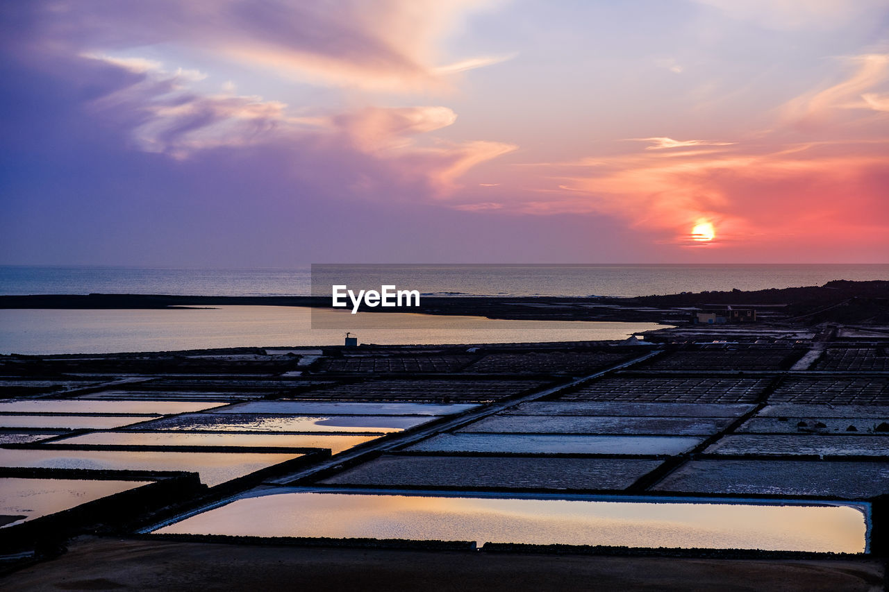 sky, sunset, cloud - sky, scenics - nature, water, beauty in nature, nature, sea, horizon over water, no people, orange color, horizon, tranquil scene, salt flat, tranquility, land, mineral, idyllic, outdoors