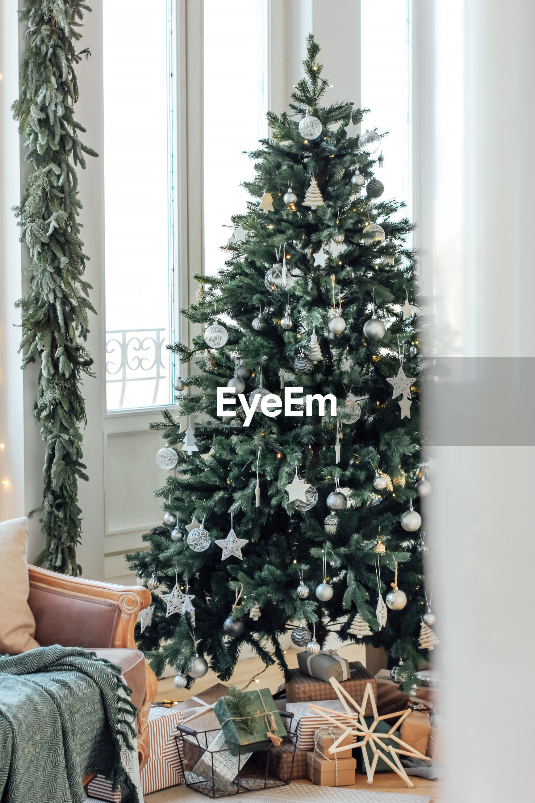 Christmas tree and gifts at home