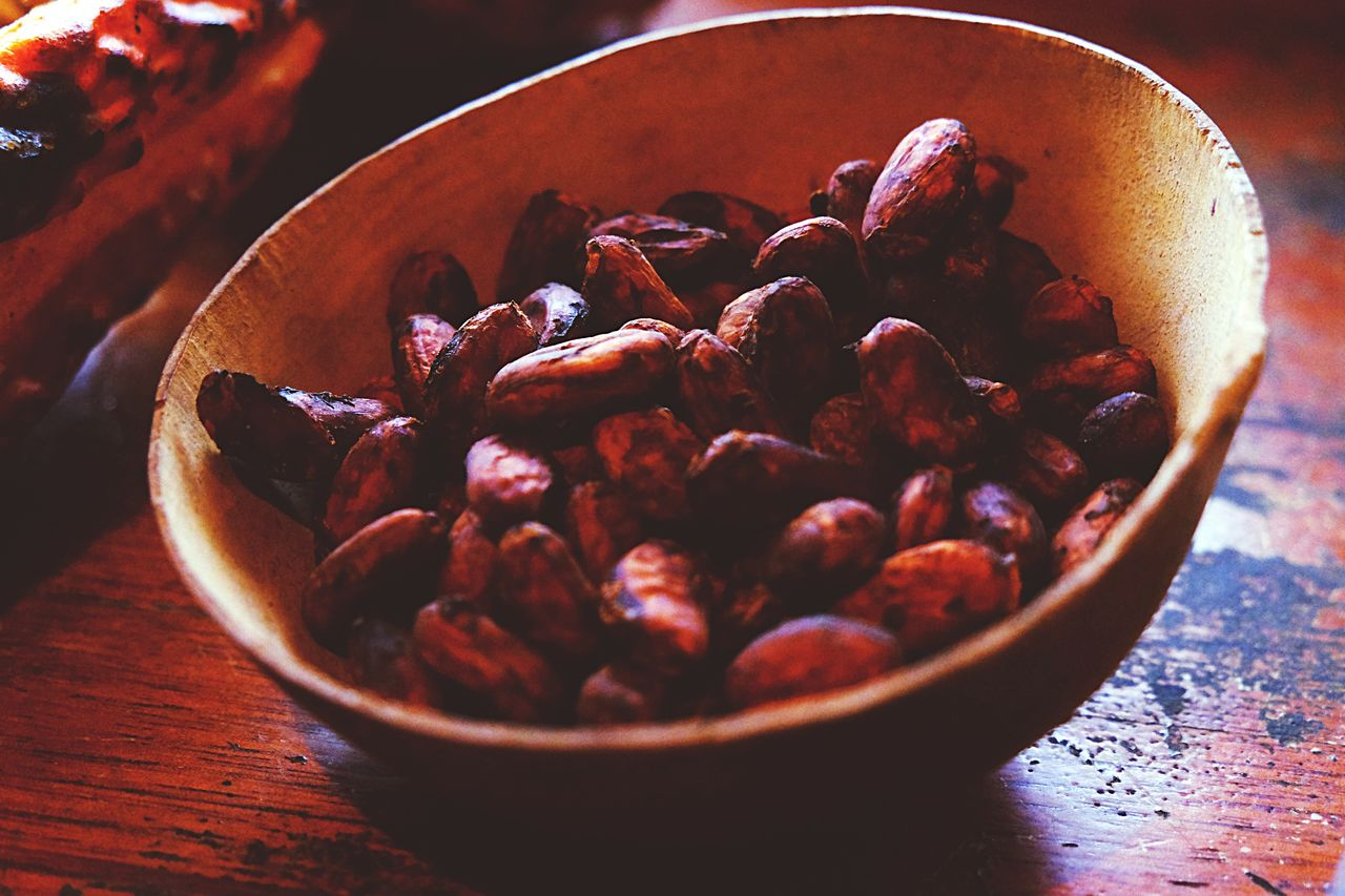 Close-up of cocoa beans in bowl