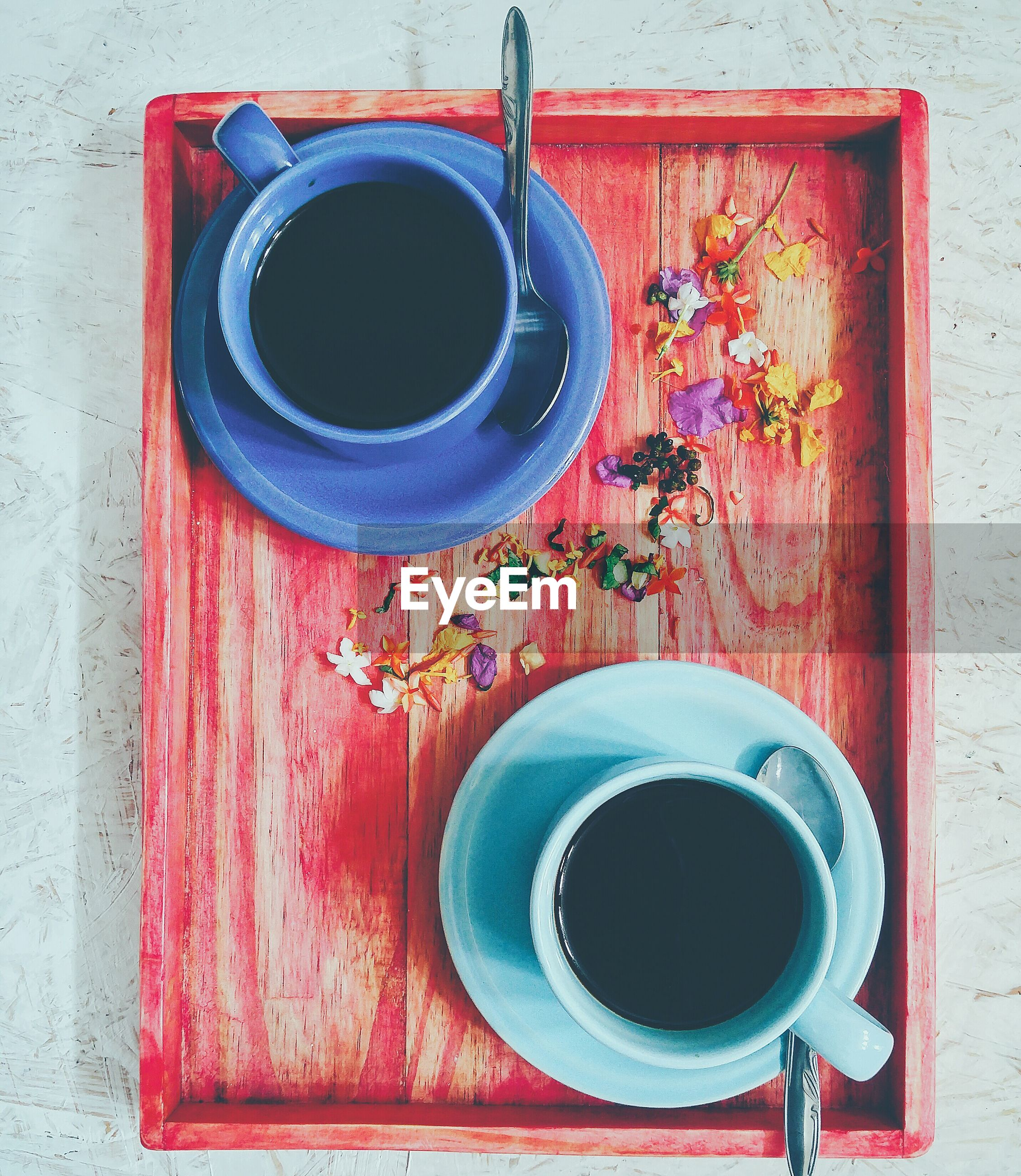 Directly above shot of black coffees on table