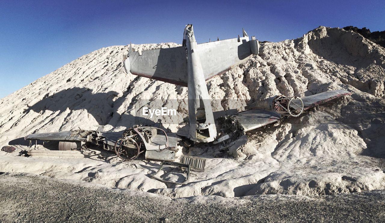 Airplane Crash In Nevada Desert On Sunny Day
