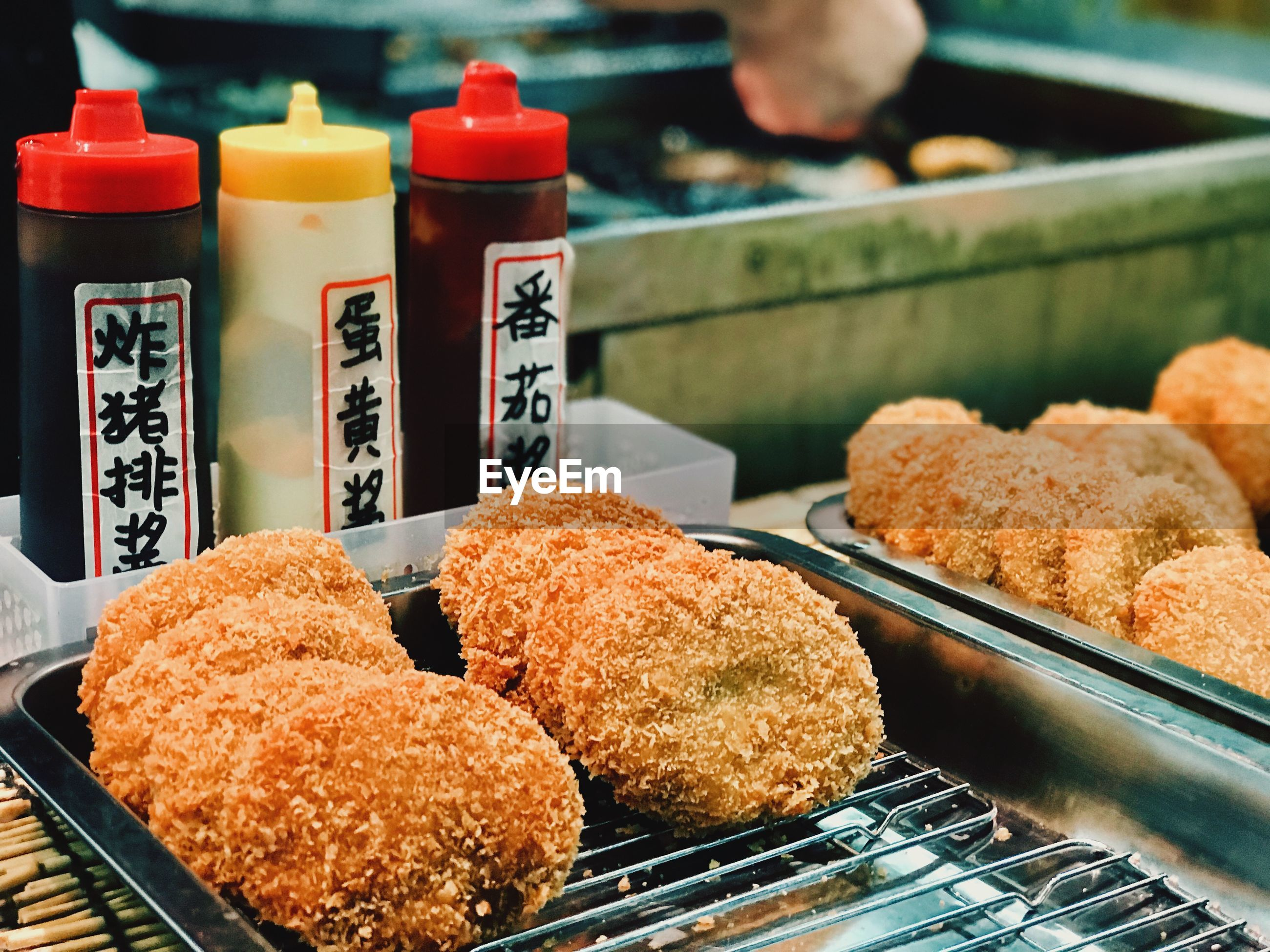 High angle view of fried food in tray