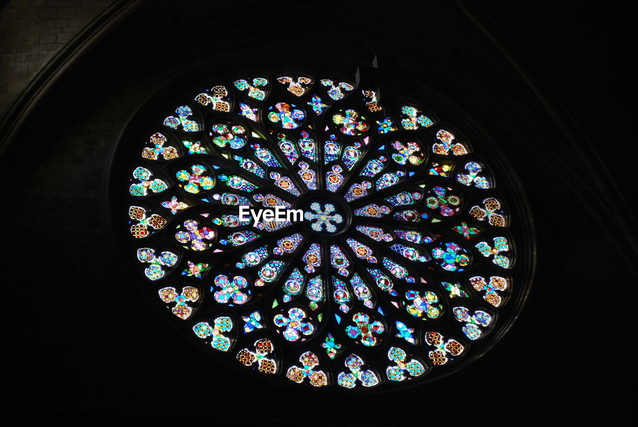 stained glass, multi colored, circle, window, place of worship, religion, indoors, pattern, architecture, spirituality, no people, day