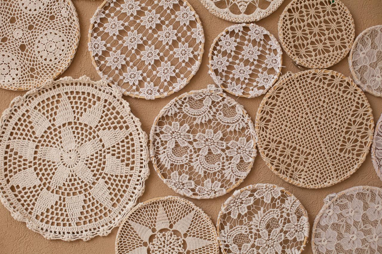 Full frame shot of patterned fabrics on table