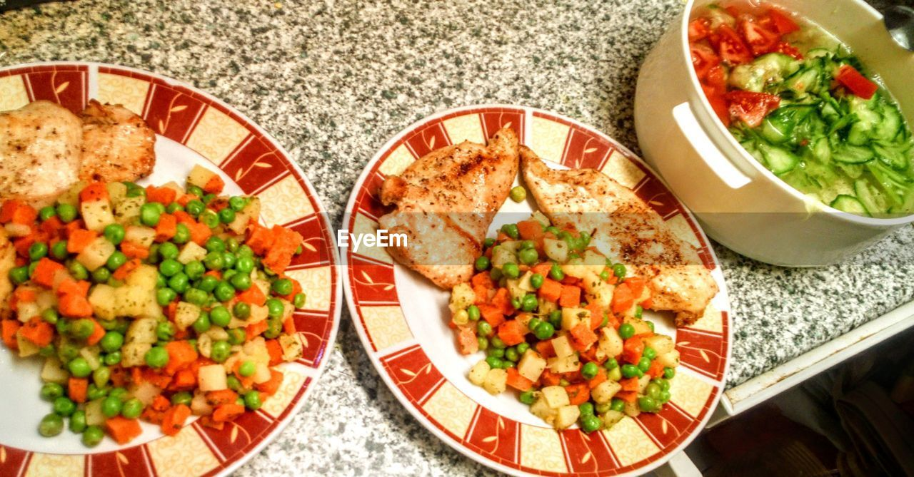 food and drink, food, plate, healthy eating, vegetable, freshness, ready-to-eat, wellbeing, indoors, bowl, table, mexican food, still life, meal, serving size, high angle view, no people, salad, kitchen utensil, meat, dinner