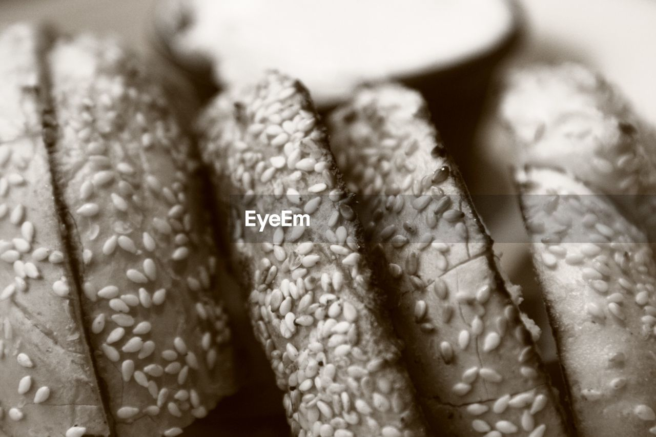 Close-up view of bread slices with sesame seeds
