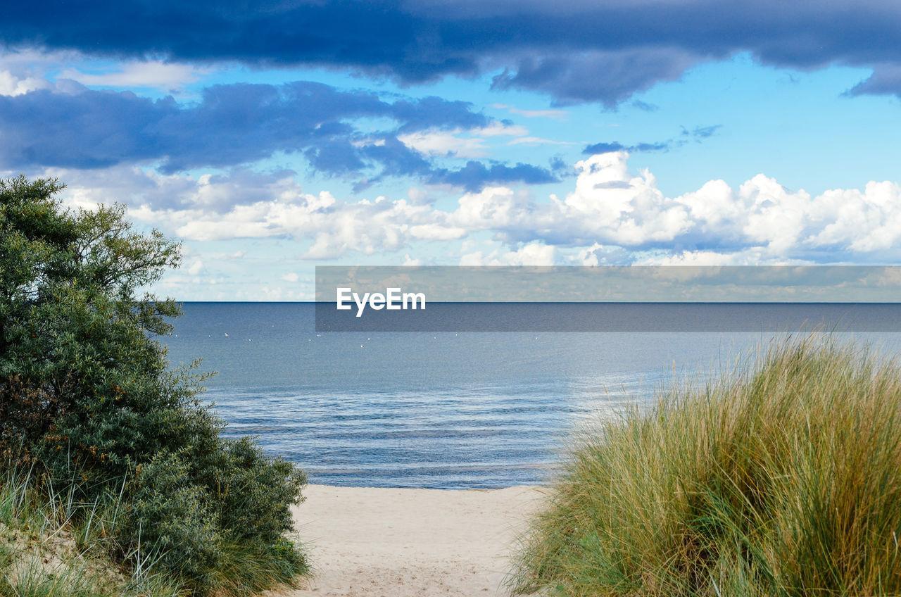 Idyllic shot of baltic sea against cloudy sky