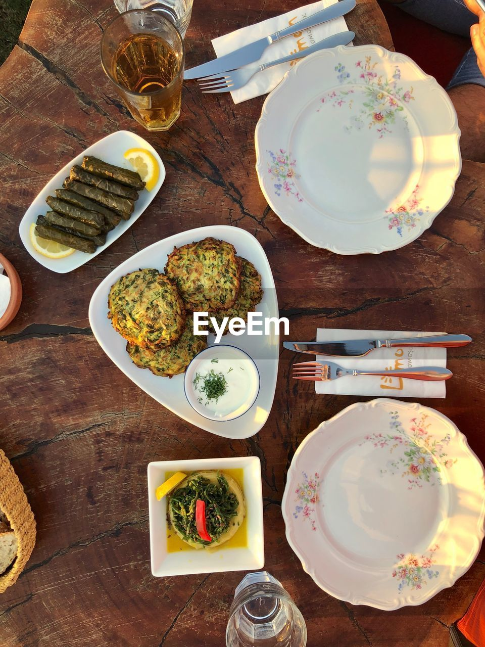 table, food and drink, food, plate, freshness, high angle view, ready-to-eat, indoors, meal, directly above, drink, wood - material, still life, kitchen utensil, serving size, healthy eating, eating utensil, no people, refreshment, wellbeing, glass, snack