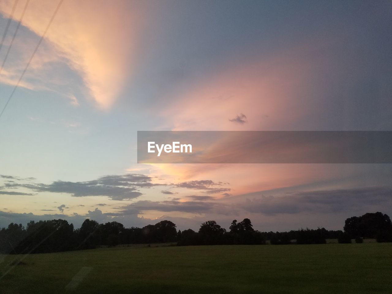 sunset, flying, nature, animal themes, landscape, sky, beauty in nature, scenics, tranquil scene, tranquility, grass, no people, one animal, field, animals in the wild, bird, outdoors, cloud - sky, animal wildlife, airplane, silhouette, tree, rural scene, day